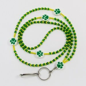 NWOT beaded lanyard GREEN PAWS badge holder